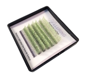 Alluring Green Glitter Lashes C Curl  Mini Tray Mixed Size